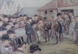 A pair of reproduction prints; Some Scalps from Newmarket; Chasing at Sandown Park, each 27 x 39cm,