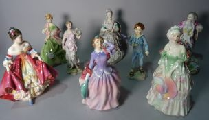 Ceramics, including, two Meissen figures, 19cm high, three Royal Doulton figures of ladies,