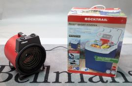 A Tristar electric heater and a Rocktrail powered cool box, (2).