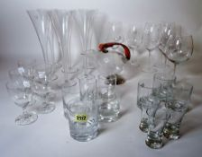 Glassware; a large quantity of modern drinking glasses, (qty).