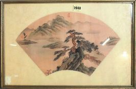 A Chinese fan painting, watercolour on silk,