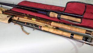 A Hamlin three piece split cane fishing rod, a Shakespeare 'Voyageur' telescope rod,