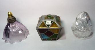 An early 20th century stained glass shade of tapering form, 16cm wide x 19cm high,