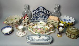 Ceramics, including; a Royal Worcester twin handled urn, 12cm high, a Schierholz cup and saucer,