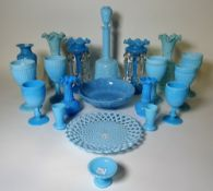 A pair of Victorian turquoise opaline glass lustres,
