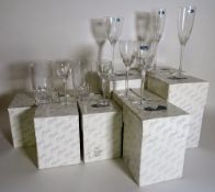 Waterford Crystal; modern, mostly boxed, including champagne flutes, port glasses,