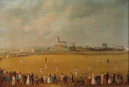 An oleographic reproduction print of the Cricket Match at Christchurch,