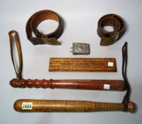 Collectables, comprising; two early 20th century wooden truncheons, 40cm long,