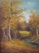 R. Lanley (British, 20th Century), A woodland landscape