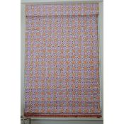 A Roman linen blind, with printed repeated flowerhead design, 130cm wide x 200cm long.