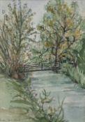 Judy Strafford (British, 1932-2018), River landscape, signed, watercolour, 18 x 13cm,