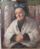 English School, 20th Century, Portrait of a lady, oil on canvas, 76 x 61cm, (unframed).