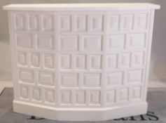 A white painted hardwood drinks bar with panel decoration, 136cm wide x 106cm high,