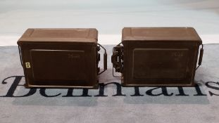 Militaria, two modern green painted metal ammunition boxes, 42cm wide x 20cm high, (2).