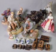 Ceramics, a group of Capodimonte type figures, two Beswick style horses and sundry.