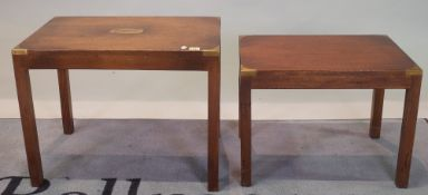 A campaign style mahogany and brass bound nest of two tables, the largest 64cm wide x 49cm high,