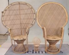 A near pair of modern rattan peacock armchairs, 57cm wide x 148cm high, and a miniature example,