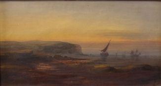 English School, 19th Century, Boats off the coast, oil on board, 16 x 30.
