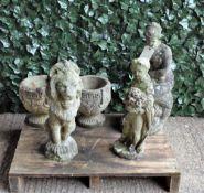 Reconstituted stone; a seated Venus, 60cm high, a lion, 50cm high, a cherub, 50cm high,