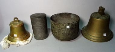Collectables comprising; two bells, 23cm high, a pewter tea canister, 18cm high,