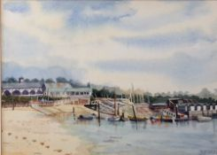 Diana Tunnicliffe (British, 20th Century), Bembridge Sailing Club from the Harbour, Isle of Wight,