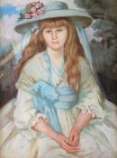 English School, late 19th/early 20th Century, Portrait of a girl in a white and blue dress, pastel,