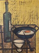 After Bernard Buffet (French, 1928-1999), Still life, reproduction print on board, 64 x 49.5cm.
