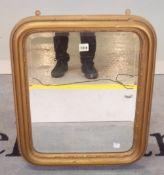 A Victorian gilt framed rectangular wall mirror, 60cm wide x 50cm high.
