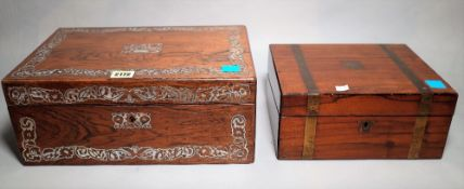 A 19th century mahogany and mother-of-pearl inlaid writing slope, 36cm wide x 15cm high,