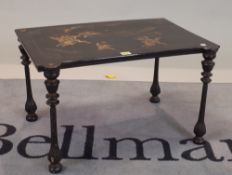 An early 20th century chinoiserie decorated side table, 65cm wide x 38cm high.