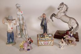 Ceramics, including; a Continental casket, Lladro figures, Capodimonte and sundry, (qty).