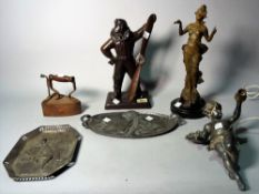 Collectables; comprising, a modern composite bronze figural table lighter, formed as a pilot,