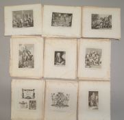 A folio of prints after William Hogarth, to include illustrations from Samuel Butler's Hudibras,