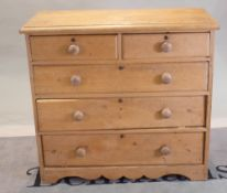 A Victorian pine chest of two short and three long drawers, 104cm wide x 106cm high.