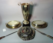Silver plated wares, a set of three Victorian oval graduated galleried trays,