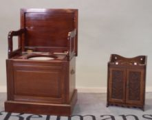 An early 20th century mahogany box commode and a small oak wall cabinet with carved decoration,