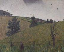 Follower of Carel Weight, Figure walking in a landscape, oil on canvas, 46 x 56cm, (unframed),