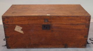 A 19th century camphor wood and brass bound trunk, 97cm wide x 43cm high.