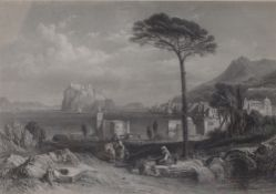 After Clarkson Stanfield, A lakeland view, engraving, 17 x 25.