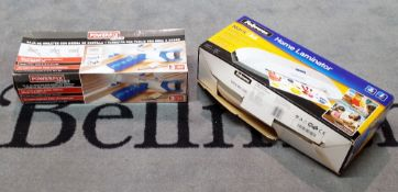 A boxed Fellowes laminator and a boxed jigsaw, (2).