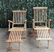 A pair of modern hardwood folding steamer chairs, 58cm wide x 85cm high.