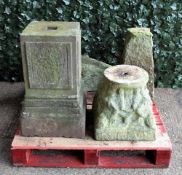 Garden statuary, a group of four reconstituted stone bases, the largest 32cm wide x 66cm high, (4).