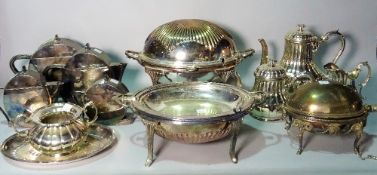 Silver plated wares, comprising; three various breakfast dishes,