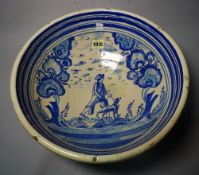 A Spanish pottery blue and white bowl,