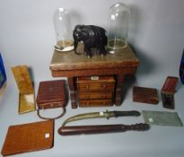 Collectables; including two early 20th century mahogany miniature chest of drawers,