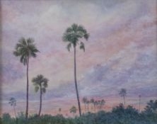 English School, 20th Century, Trees at sunset, watercolour, 23.5 x 29.