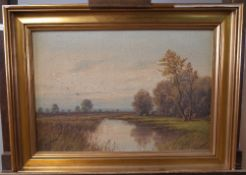A Van Rudt (Dutch, early 20th Century), Landscape, oil on canvas, signed, 32 x 46.
