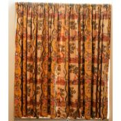 A pair of linen curtains, printed with 18th century hunting scenes, 170cm wide x 150cm long.