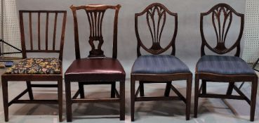 A group of four assorted 19th century mahogany dining chairs, 43 cm wide x 76 cm high, (4).