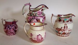 A group of four 19th century lustre jugs, 22cm high, (4).